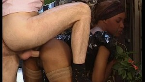 Black maid services a dick / hot sex on a boat