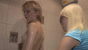 Russian teens showering off