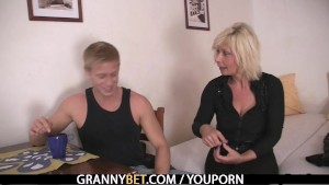 Old blonde is doggystyle fucked