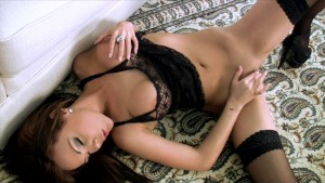 HOT YOUNG BRUNETE BABE IN LINGERIE FINGER FUCKS HE