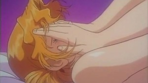 Shy blonde anime girl in first time sex