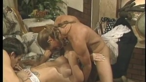 Redheaded doctor's assistant gets nailed by two guys - Gentlemens Video