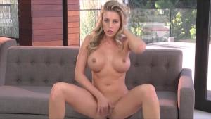 Big-tit blonde teen slut finger-fucks wet pussy for orgasm