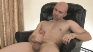Bored bald guy jerking off on the bigbed