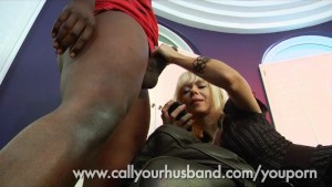Babie Sucks a Black Cock While Talking To Her Husband On The Phone