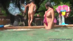 Pure big tits gets hot action in pool from lucky guy