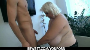 Huge lady strips and fucks lucky guy