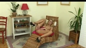 Blonde Uses Dildo Deep and Fast
