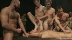 Horny men fucking and cumming on one guy