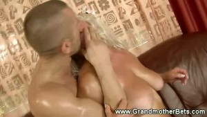 Blonde gilf gets hard cock in her pussy