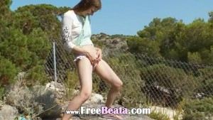 Petite russian teenie peeing like a boy