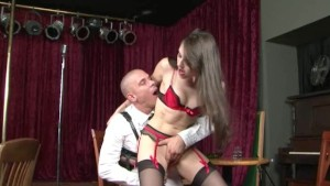 darkhair chick fucked by bald guy