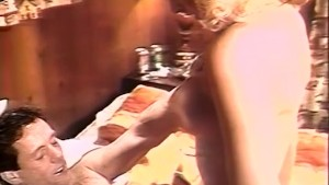 Blonde eating loads of fresh sperm