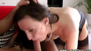 Eager young guy fucks his mature sluts pussy hard on her couch