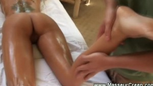 Pornstar gets an invigorating rub down