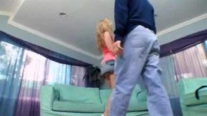 Blonde with pink panties fucking on the couch