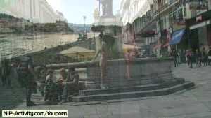 Crazy czech chicken naked on public streets