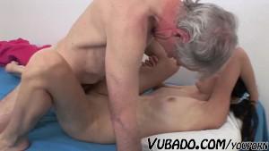 OLD FART FUCKING SEXY SLIM TEEN BRUNETTE