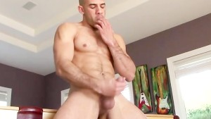 Sexy jock tugging his cock inside and outdoors