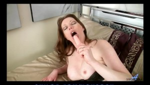 Hot busty mom cums on her toy