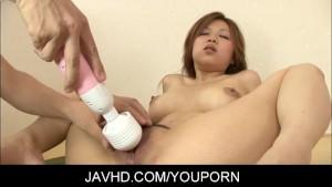 Asian babe Rika Kurogawa cock sucking and hardcore action