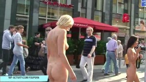 Sweet Blonde Babe Has Fun On Public Streets