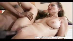 sexy milf takes huge black cock and his black cumshot