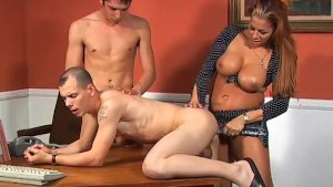 Bisexual threesome have fun with a strap-on - Pure Filth Productions