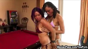 Asian pool play and lesbian sex
