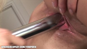 SEXY brunette lesbian gets licked and toyed by her blonde BF