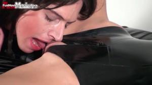 Lesbian latex amateur threesome