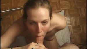 Slow handjob and a steady mouth action