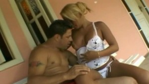 Busty Shemale Pleasures a Horny Guy