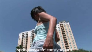 Hot Brunette Naked in Public