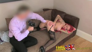 FakeAgentUK Cute redhead gets a face full of cum on the casting couch