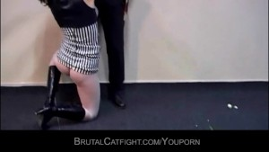 Lesbians catfighting and one fucked by man