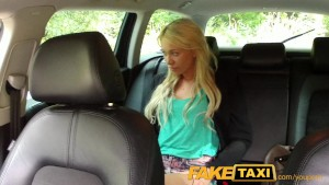 FakeTaxi Blonde must suck cock not to miss her flight