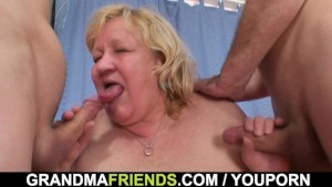 Huge titted grandma swallows two cocks