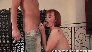 Cum hungry grandma takes a fist and a facial