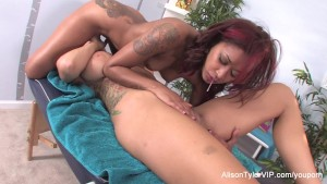 Sexy Skin uses her fingers and mouth to massage Alison