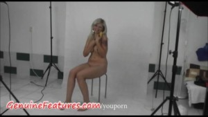 Busty czech blonde has fun in backstage