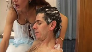 Helping her step son take a bath until she notices his massive dong