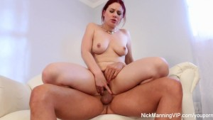 Pretty redhead Jessica squirts all over Nick Manning's cock