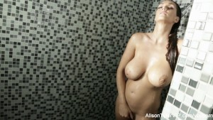 Alison showers and plays with her tight pussy