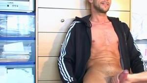 Big cock, huge balls guy gets wanked by us