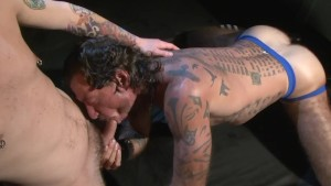 Tattooed muscle boys banging - Factory Video