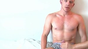 My sport trainer gets wanked his huge cock by me for a porn video !