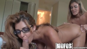 Mofos - Two sexy brunettes take turn on big dick
