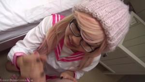 Pink blowjob schoolgirl cosplay