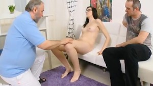 Pretty long haired girl in glasses is a virgin and wants sex so bad...